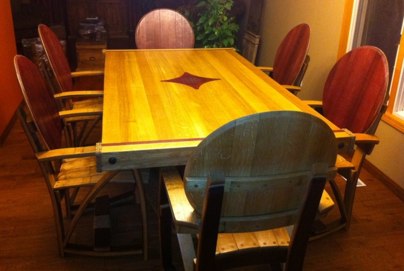 6 person dining set with custom inlay