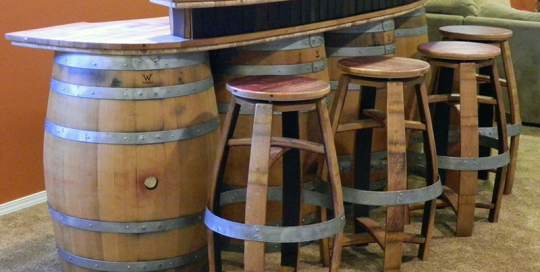 Wildgrain Woodworking Categories Bar Stools : Wine Barrel Bar1 540x272 from wildgrainwoodworking.com size 540 x 272 jpeg 210kB