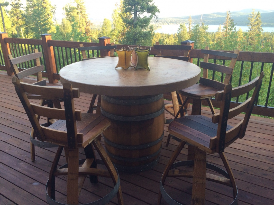Concrete Wine Barrel Pub Set